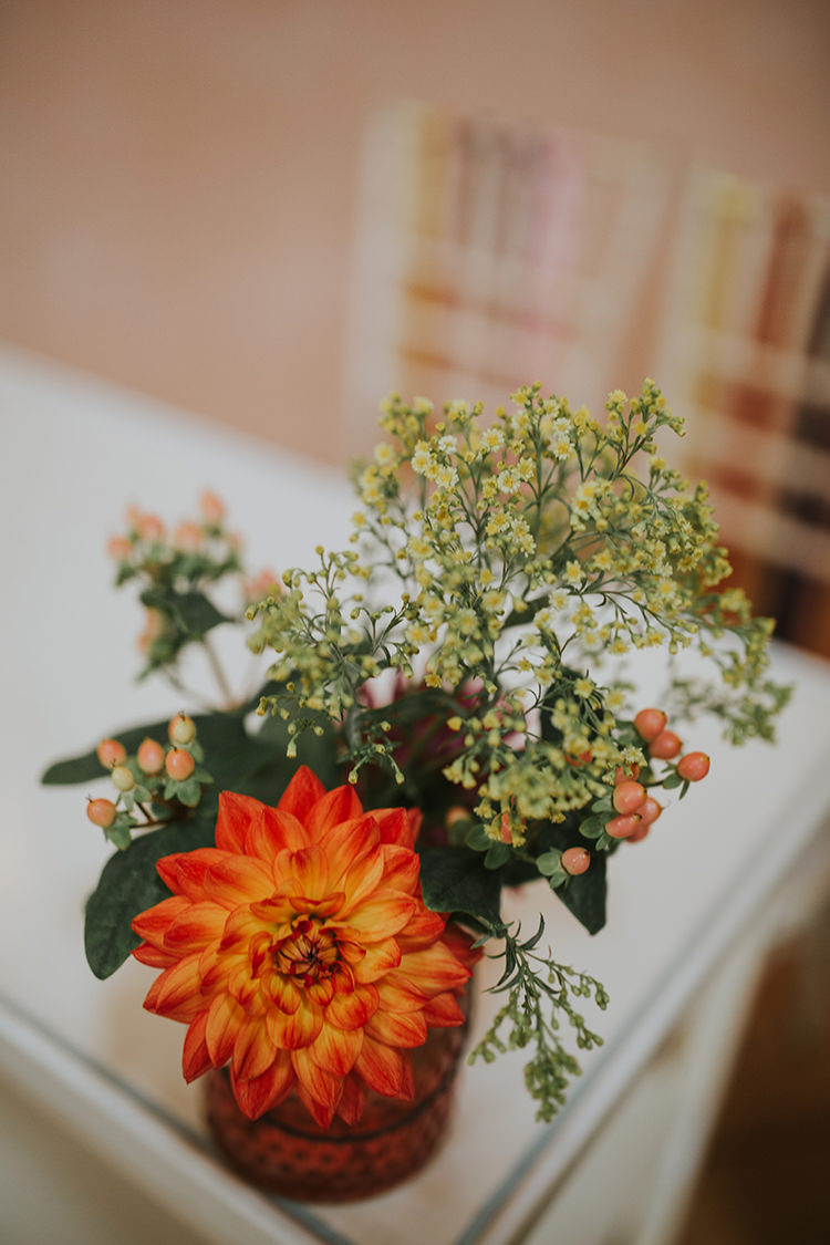 Jar Flowers Orange Dahlia Colourful Quirky Down To Earth Wedding http://jenmarino.com/