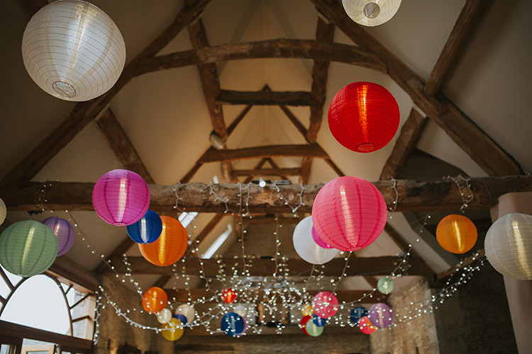 Lanterns Fairy Lights Barn Colourful Quirky Down To Earth Wedding http://jenmarino.com/