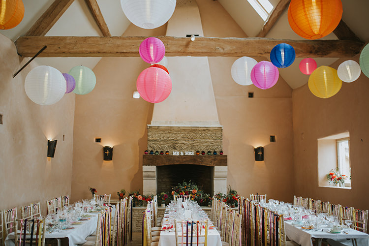 Lanterns Barn Valted Ceiling Decor Colourful Quirky Down To Earth Wedding http://jenmarino.com/