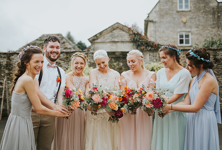 Mismatched Bridesmaids Bridesman Dresses Pastel Colourful Quirky Down To Earth Wedding http://jenmarino.com/