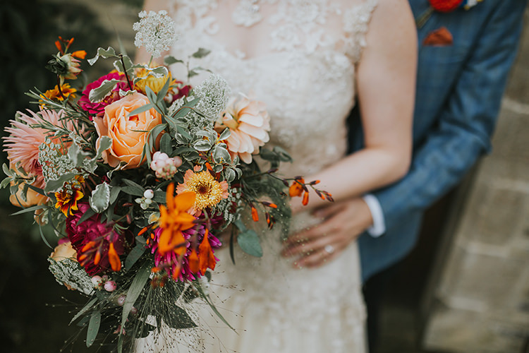 Bouquet Bride Bridal Flowers Red Orange Autumn Dahlia Rose Colourful Quirky Down To Earth Wedding http://jenmarino.com/