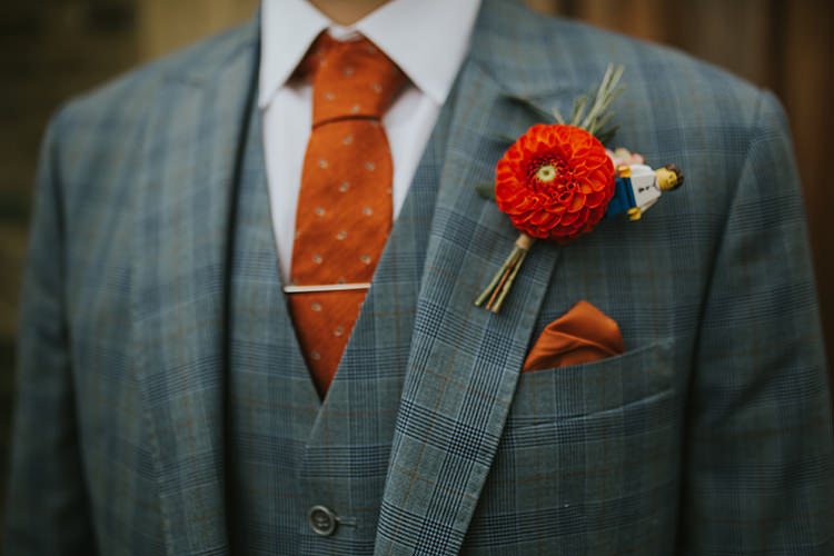 Dahlia Lego Buttonhole Groom Colourful Quirky Down To Earth Wedding http://jenmarino.com/
