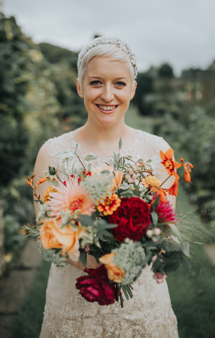 Bride Bridal Short Hair Bouquet Flowers Red Orange Dahlia Autumn Colourful Quirky Down To Earth Wedding http://jenmarino.com/