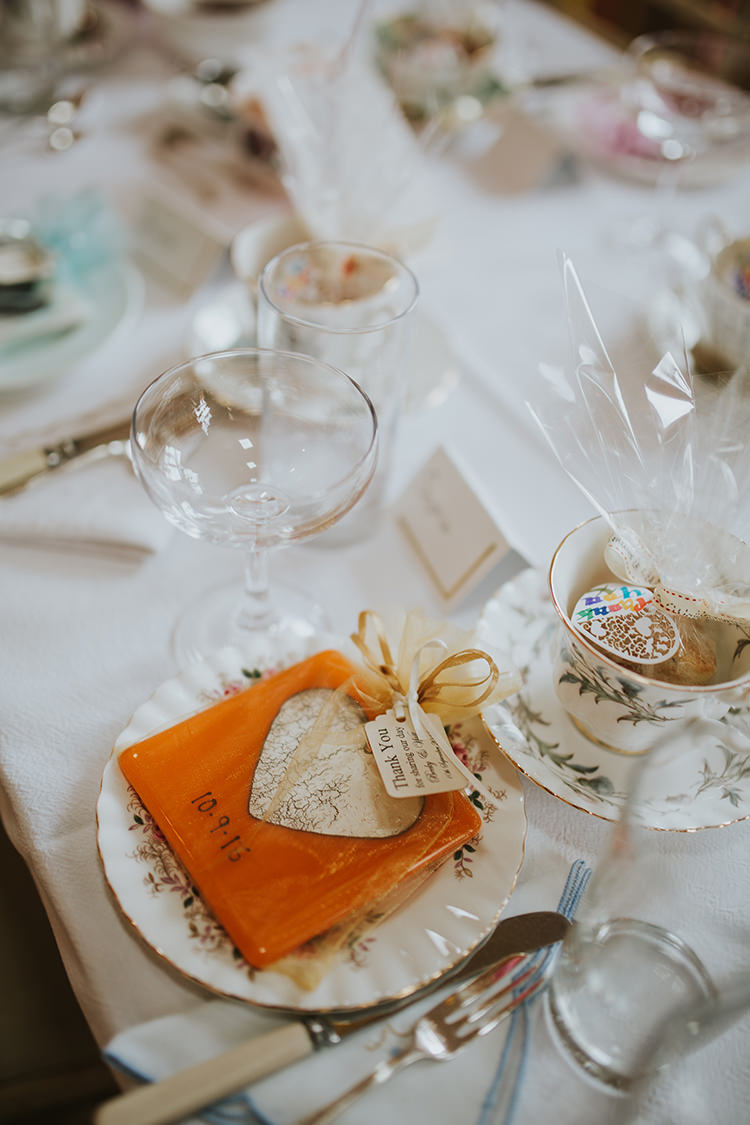 Coaster Favour Place Setting Colourful Quirky Down To Earth Wedding http://jenmarino.com/