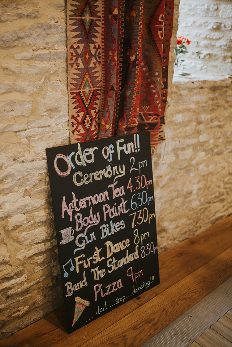 Rainbow Black Chalk Sign Board Colourful Quirky Down To Earth Wedding http://jenmarino.com/