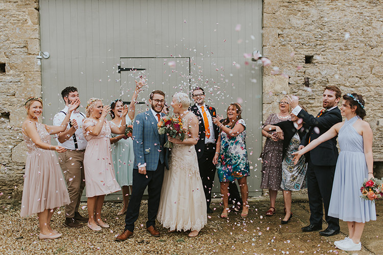 Confetti Throw Bride Groom Colourful Quirky Down To Earth Wedding http://jenmarino.com/