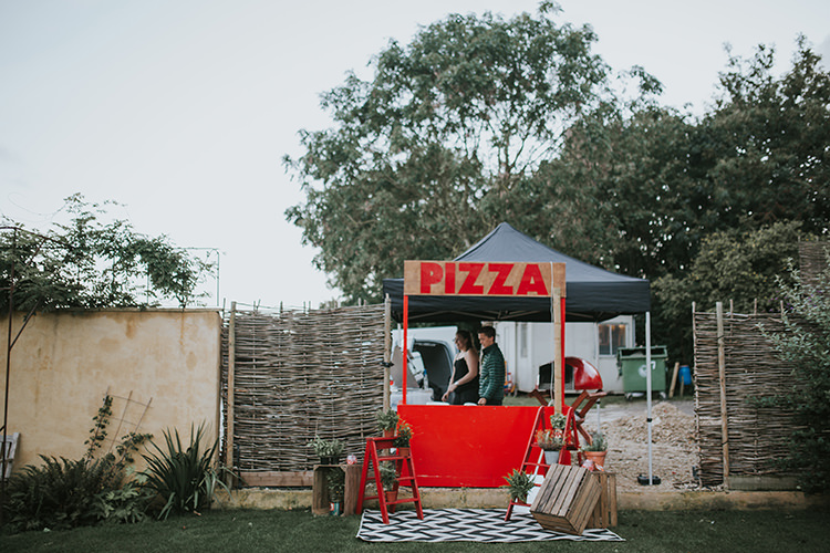 Pizza Stand Food Truck Colourful Quirky Down To Earth Wedding http://jenmarino.com/