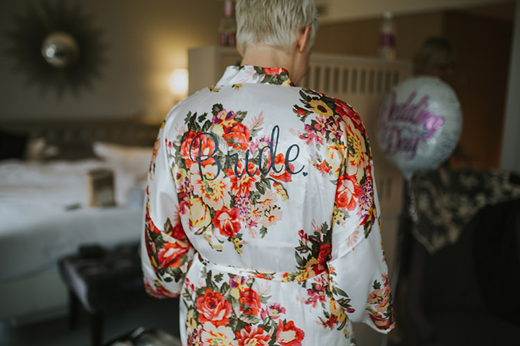 Floral Bride Bridal Dressing Gown Colourful Quirky Down To Earth Wedding http://jenmarino.com/