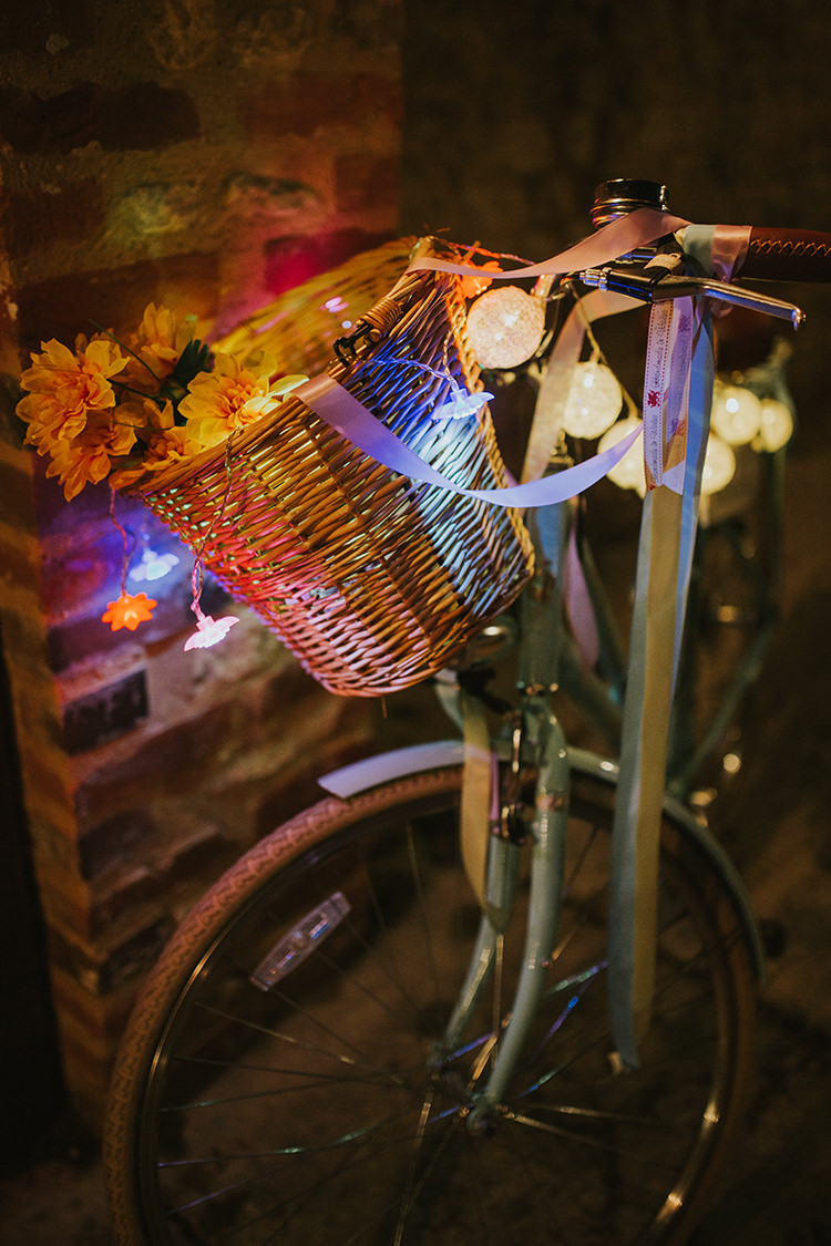 Bicycle Decor Cotton Ball Lights Colourful Quirky Down To Earth Wedding http://jenmarino.com/