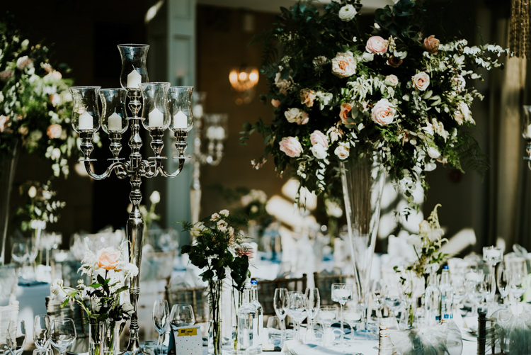 Silver Candlestick Greenery Rose Flowers Table Centre Pink Tall Dreamy Blush Floral Wonderland Wedding http://www.stevebridgwoodphotography.co.uk/