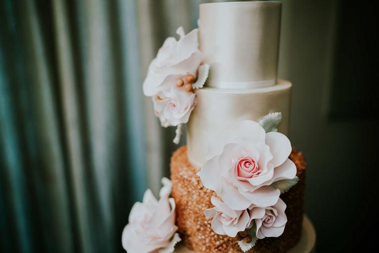 Cake Sugar Flowers Metallic Silver Pink Dreamy Blush Floral Wonderland Wedding http://www.stevebridgwoodphotography.co.uk/