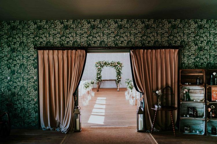 Ceremony Entrance Decor Details Props Crates Birdcage Flowers Arch Backdrop Dreamy Blush Floral Wonderland Wedding http://www.stevebridgwoodphotography.co.uk/