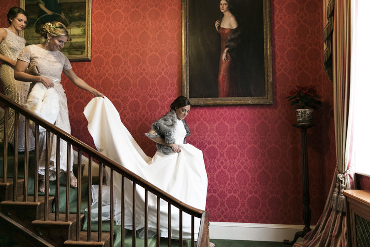 Bride Bridal Pronovias Fur Shrug stole Bridesmaids Gorgeously Glam New Years Eve Wedding http://www.photographybykrishanthi.co.uk/