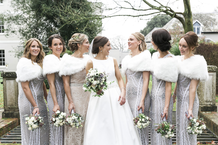 Bride Bridal Pronovias Classic A-Line Bridesmaids Gina Bacconi Fur Shrug Sequins Gorgeously Glam New Years Eve Wedding http://www.photographybykrishanthi.co.uk/