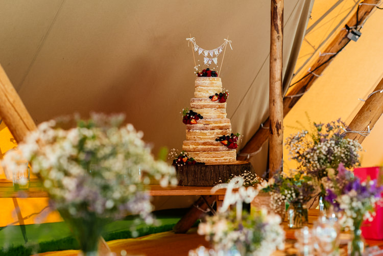 Naked Cake Tall Sponge Bunting Fruit Log Fun Loving Secret Garden Tipi Wedding https://www.aaroncollettphotography.co.uk/