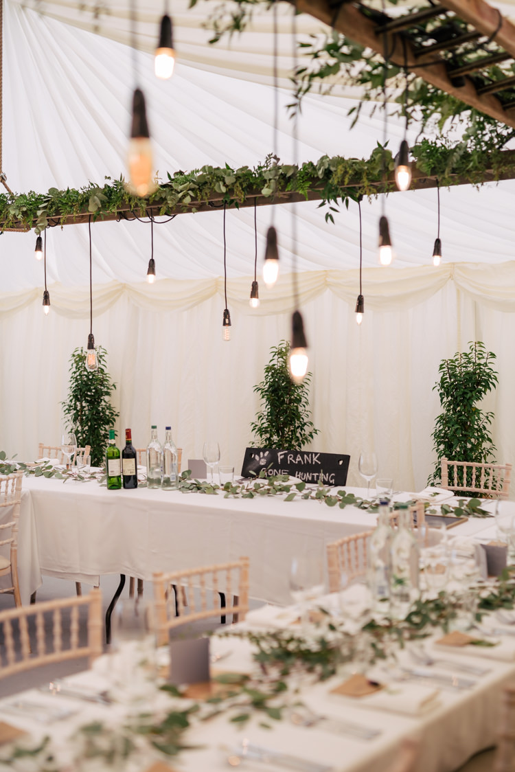 Festoon Filament Edison Bulb Lighting Foliage Greenery Industrial Glam Marquee Wedding http://www.stottandatkinson.com/