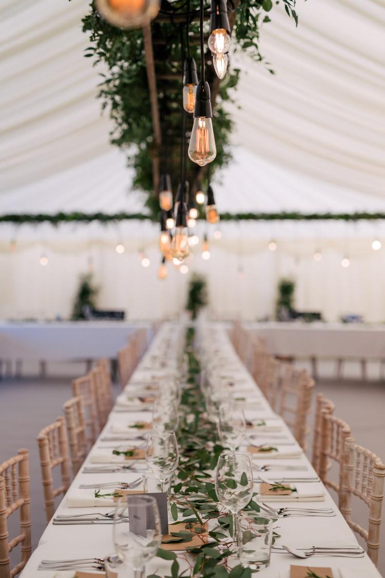 Festoon Filament Edison Bulb Lighting Foliage Greenery Industrial Glam Marquee Wedding http://www.stottandatkinson.com/