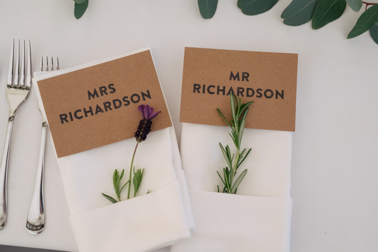 Lavender Rosemary Place Setting Card Brown Kraft Paper Industrial Glam Marquee Wedding http://www.stottandatkinson.com/