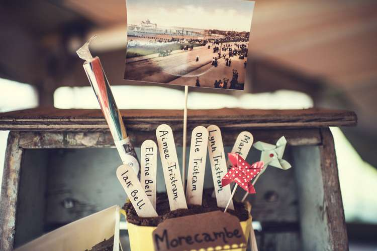 Table Plan Bucket Spade Lolly Sticks Rock Postcard Seating Chart Quirky Seaside Farm Wedding http://www.thomasthomasphotography.co.uk/
