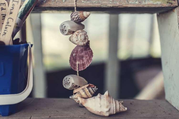 Shells Detail Decor Stepladder Quirky Seaside Farm Wedding http://www.thomasthomasphotography.co.uk/