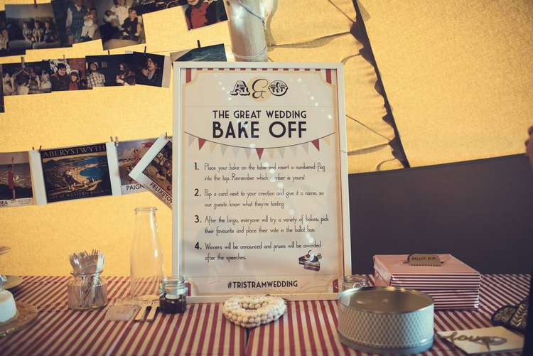 Bake Off Cake Table Photographs Postcard Quirky Seaside Farm Wedding http://www.thomasthomasphotography.co.uk/