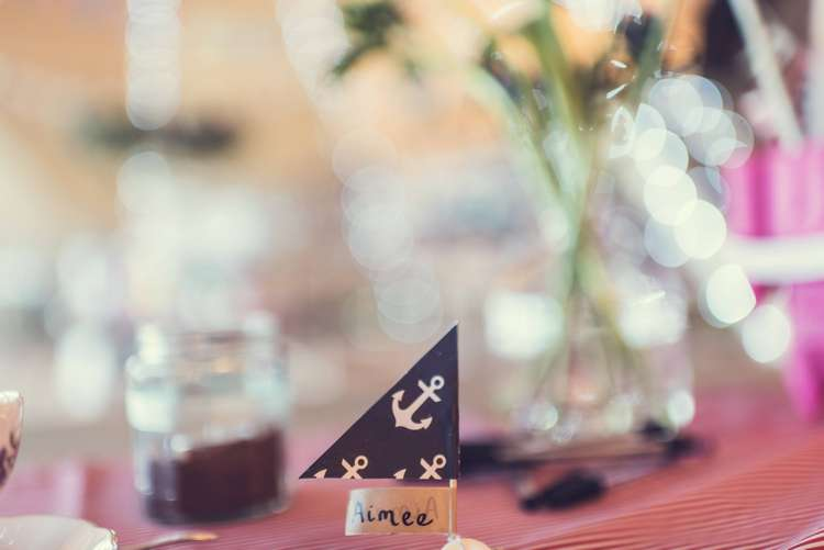 Place Card Name Flag Boat Quirky Seaside Farm Wedding http://www.thomasthomasphotography.co.uk/
