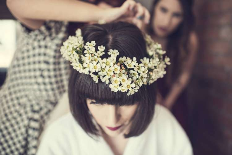Bride Bridal Flower Crown Hairpiece Waxflower White Floral Quirky Seaside Farm Wedding http://www.thomasthomasphotography.co.uk/