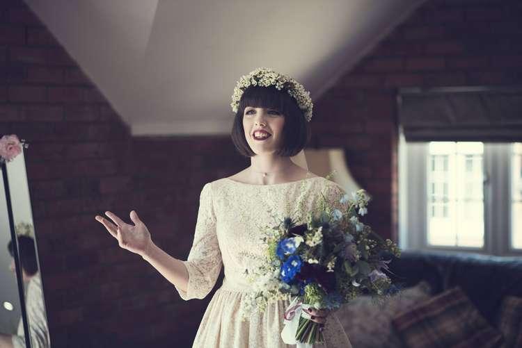 Bride Bridal Kula Tsurdiu Dress Tea Length Sleeves Flower Crown Waxflower White Blue Bouquet Quirky Seaside Farm Wedding http://www.thomasthomasphotography.co.uk/