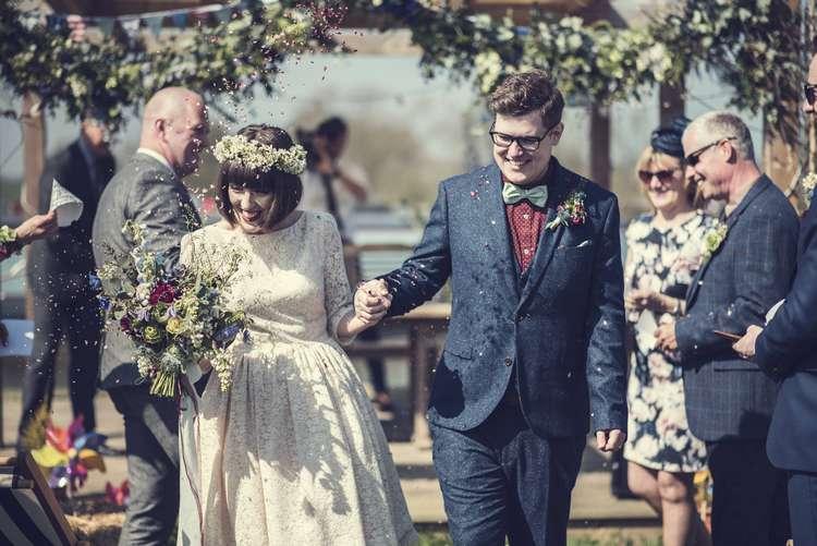 Confetti Shot ula Tsurdiu Bride Bridal Dress Waxflower Flower Crown Blue Bouquet Veil Next Groom Quirky Seaside Farm Wedding http://www.thomasthomasphotography.co.uk/