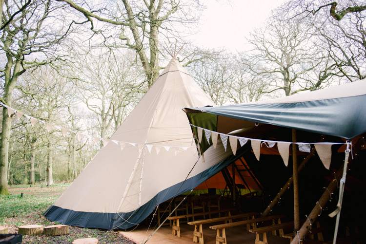Bunting Fairy Lights Benches Woodland Magical Cosy Forest Tipi Wedding http://katewatersphotography.com/