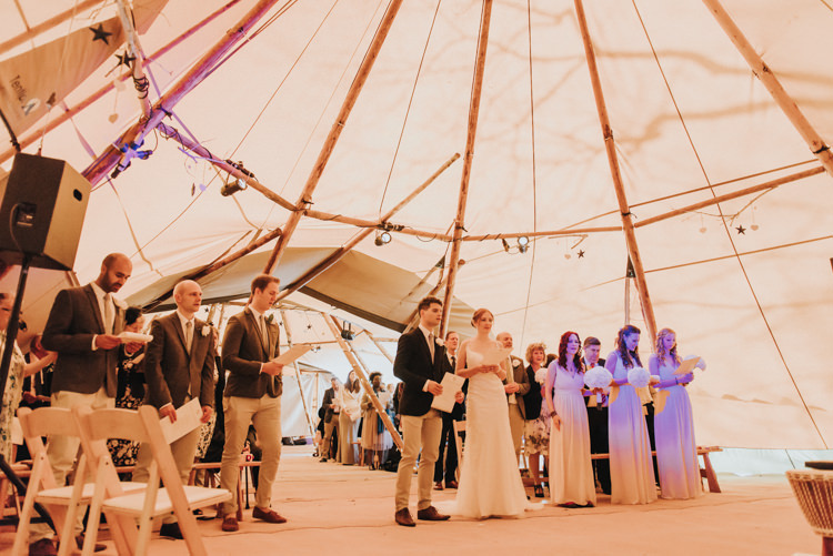 Ceremony Bride Bridal Maggie Sottero Jack Wills Zara Groom Mismatched Pink Bridesmaids Magical Cosy Forest Tipi Wedding http://katewatersphotography.com/