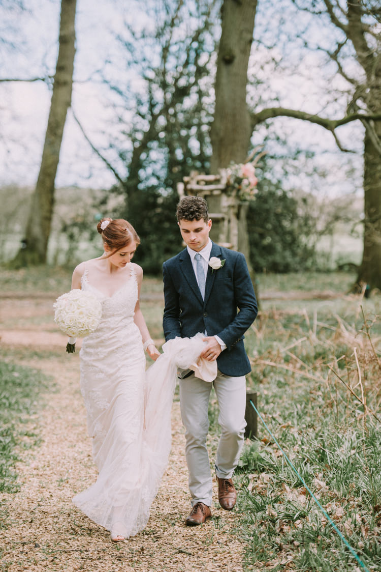 Bride Bridal Maggie Sottero Sleeveless Dress Gown Champagne Overlay Jack Wills Jacket Zara Chinos Mismatched Groom Magical Cosy Forest Tipi Wedding http://katewatersphotography.com/