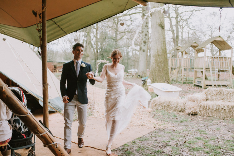 Bride Bridal Maggie Sottero Gown Dress Sleeveless Champagne Overlay Groom Jacket Jack Wills Zara Chinos Mismatched Magical Cosy Forest Tipi Wedding http://katewatersphotography.com/