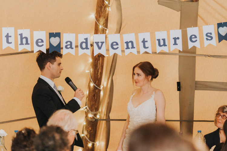 Letter Bunting Decor Detail Maggie Sottero Bride Jack Wills Groom Magical Cosy Forest Tipi Wedding http://katewatersphotography.com/