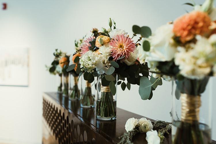 Dahlia Ranunculus Flowers Bouquet Bride Bridal Peach Cream Hip Art Gallery Wedding Colorado http://www.lisarundallphotography.com/