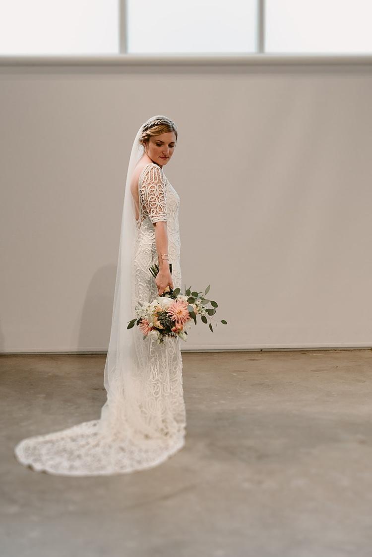 Rue De Seine Dress Gown Bride Bridal Style Tapework Hip Art Gallery Wedding Colorado http://www.lisarundallphotography.com/