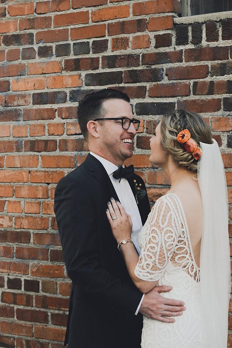 Bow Tie Tux Groom Glasses Hip Art Gallery Wedding Colorado http://www.lisarundallphotography.com/