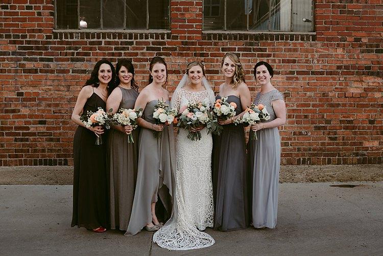 Mismatched Grey Bridesmaid Dresses Mix Match Hip Art Gallery Wedding Colorado http://www.lisarundallphotography.com/