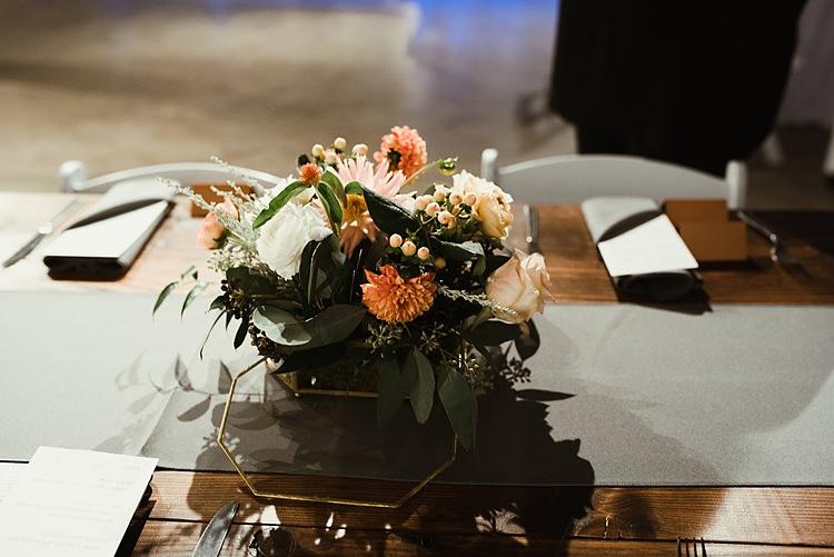 Dahlia Ranunculus Flowers Peach Cream Hip Art Gallery Wedding Colorado http://www.lisarundallphotography.com/