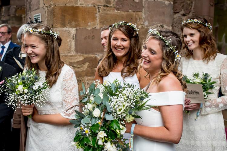 Mismatched White Bridesmaid Dresses Wild Flowers Hippy Festival Travel Wedding http://www.mattbadenoch.com/
