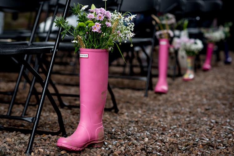 Wellies Wellington Boot Hunter Flowers Aisle Ceremony Hippy Festival Travel Wedding http://www.mattbadenoch.com/