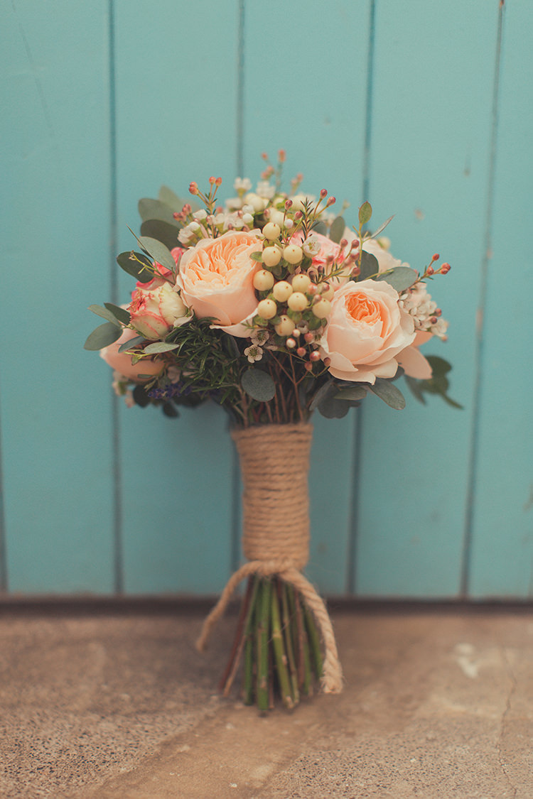 Bouquet Flowers Bride Bridal Peach Roses Whimsical Countryside Yurt Wedding http://jamesgreenphotographer.co.uk/