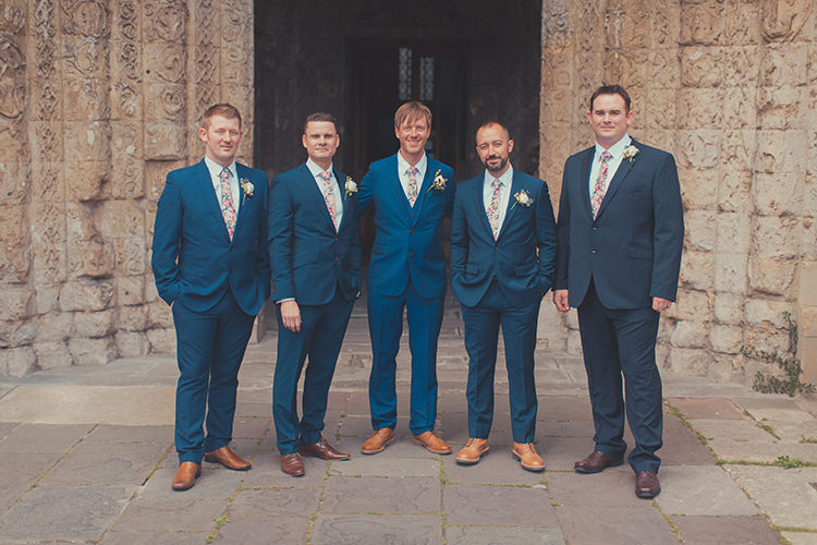 Blue Suits Tan Shoes Floral Ties Groom Groomsmen Whimsical Countryside Yurt Wedding http://jamesgreenphotographer.co.uk/