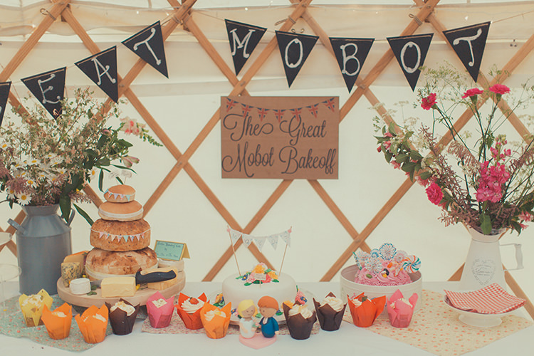 Cake Bake Off Table Dessert Whimsical Countryside Yurt Wedding http://jamesgreenphotographer.co.uk/