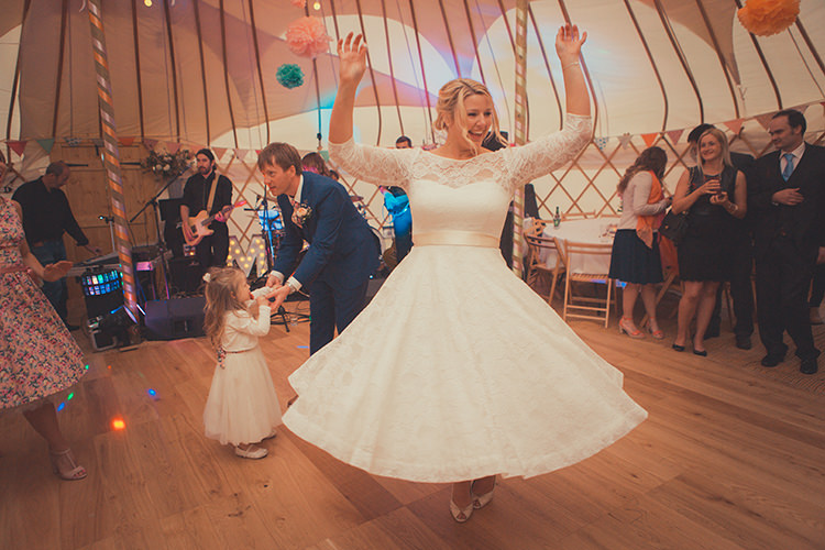 Short Lace Dress Bride Bridal Tea Length Sleeves Whimsical Countryside Yurt Wedding http://jamesgreenphotographer.co.uk/