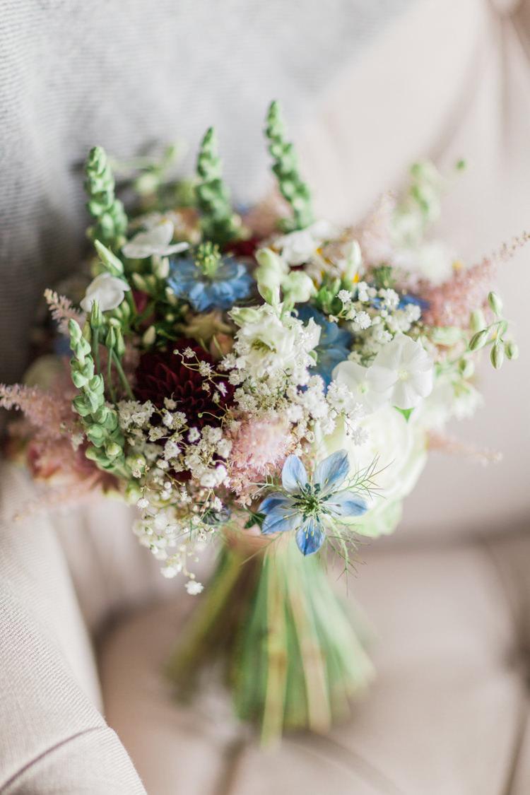 Nigella Blue Bouquet UK British Seasonal Home Grown Wedding Flowers http://www.jobradbury.co.uk/