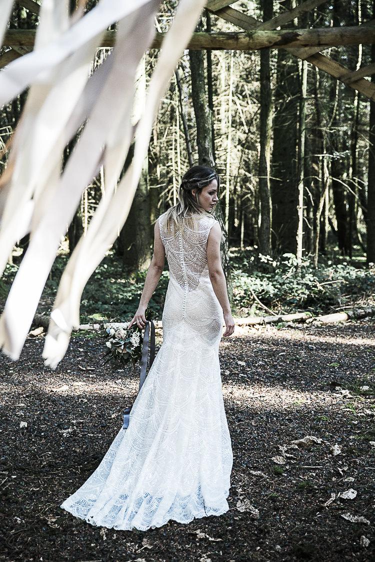 Sequin Dress Illusion Gown Bride Bridal Bohemian Macramé Woodland Wedding Ideas https://samieleephotography.com/