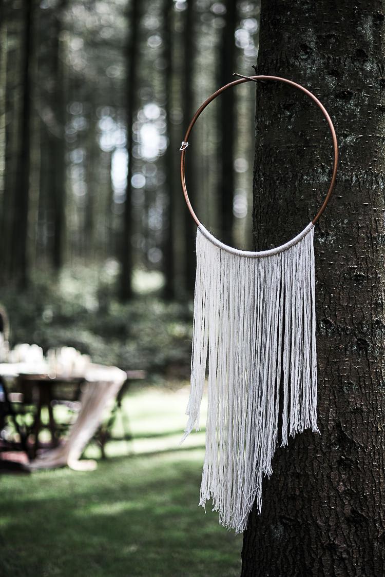 Hoop Hanging Decor Bohemian Macramé Woodland Wedding Ideas https://samieleephotography.com/