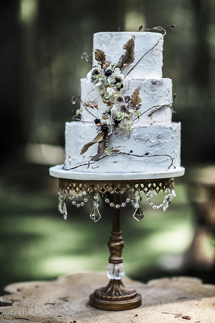 Buttercream Rustic Cake Leaves Flowers Bohemian Macramé Woodland Wedding Ideas https://samieleephotography.com/