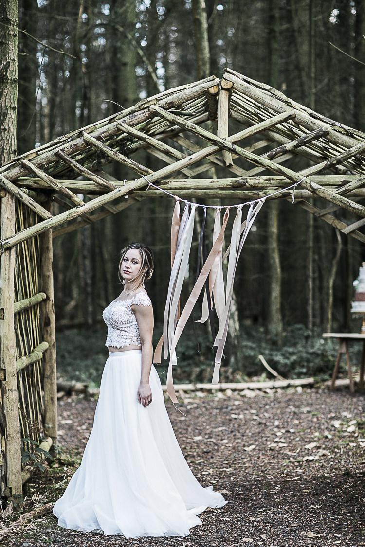 Bridal Separates Skirt Crop Top Bride Dress Gown Bohemian Macramé Woodland Wedding Ideas https://samieleephotography.com/